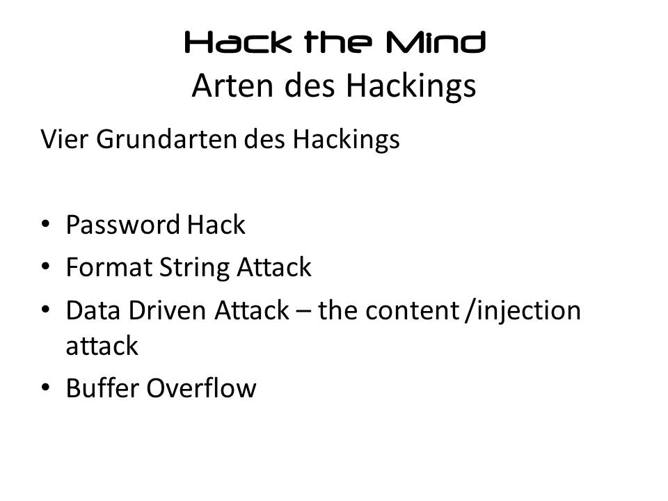 Arten des Hacking